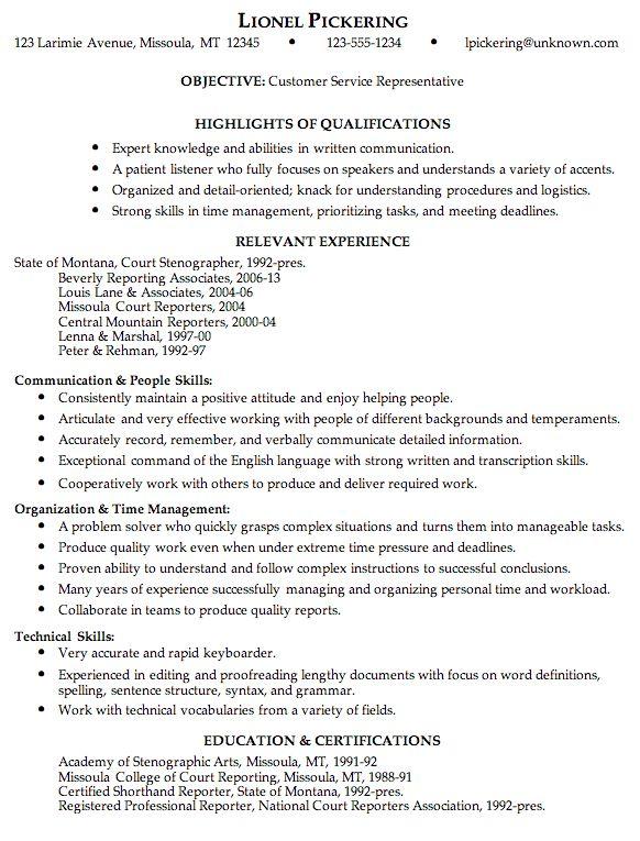 Customer Service Resume Sample | berathen.Com