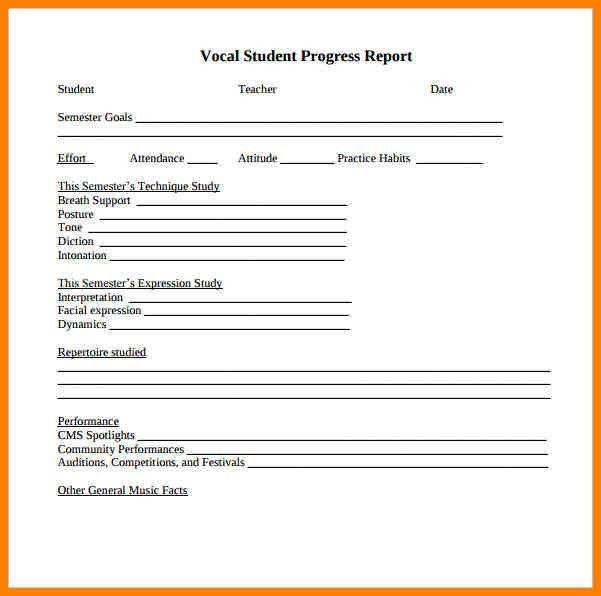 8+ music progress report template   resume language