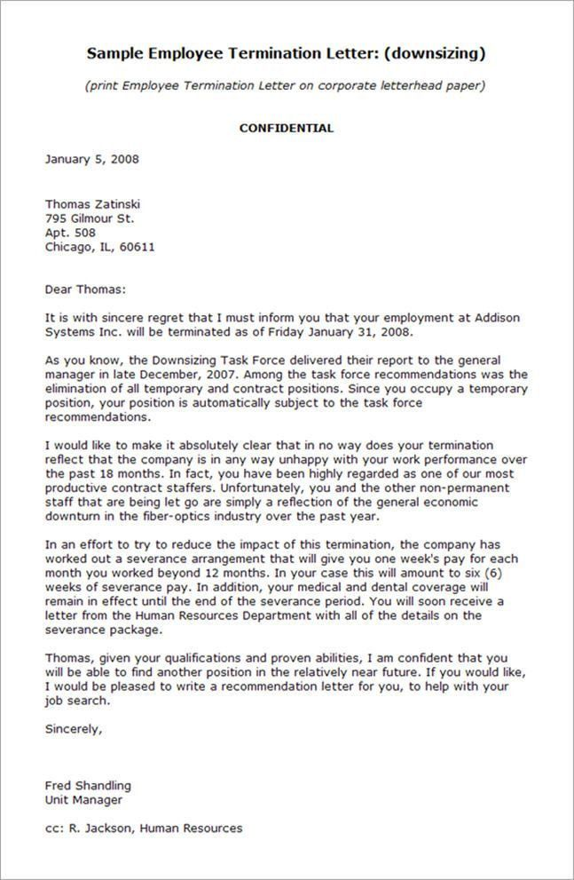 nanny termination letter sample. employee termination letter the ...
