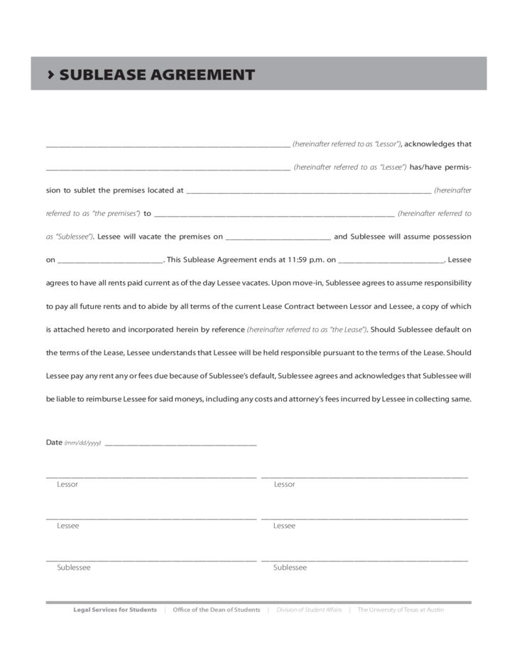 Sublease Agreement Form - Texas Free Download