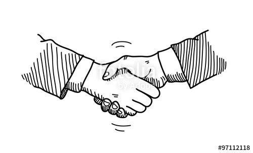 Handshake Doodle, a hand drawn vector doodle illustration of hands ...