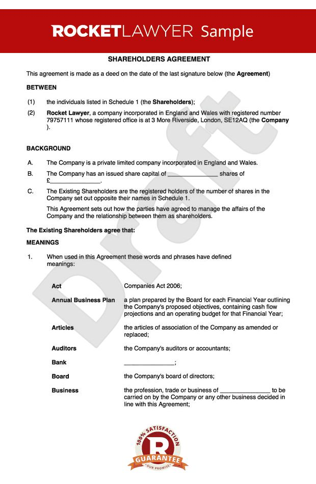 Agreement Template - Create a Shareholders Agreement