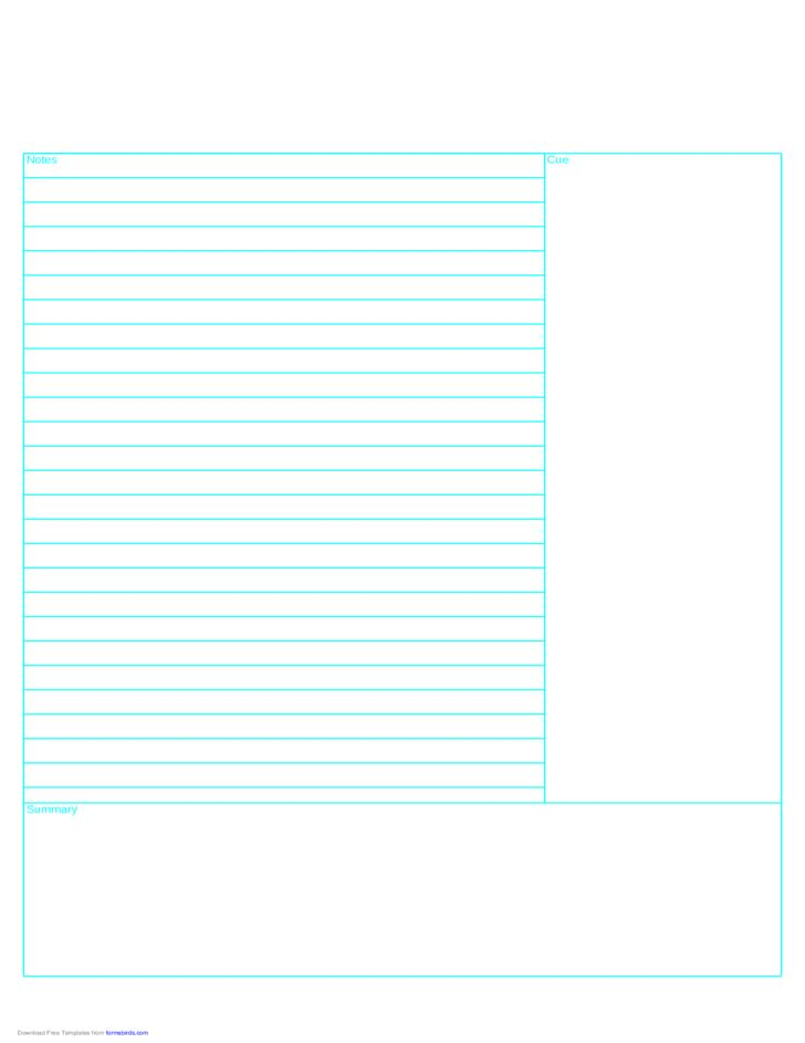 Cornell Note Paper Template - Reversed Free Download