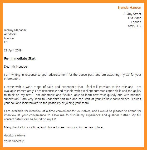 start of cover letter