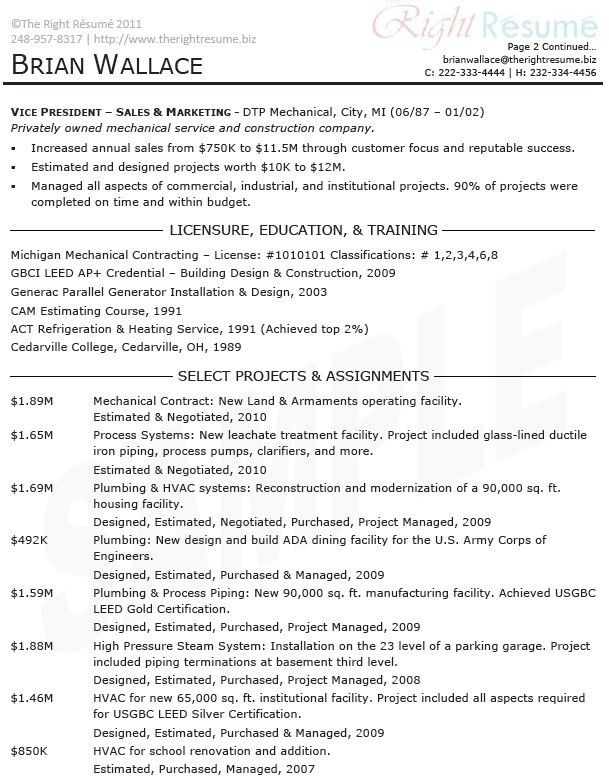 Service project manager resume