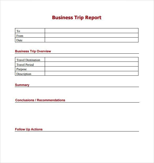 Trip Report Template - 7+ Free Samples, Examples & Formats