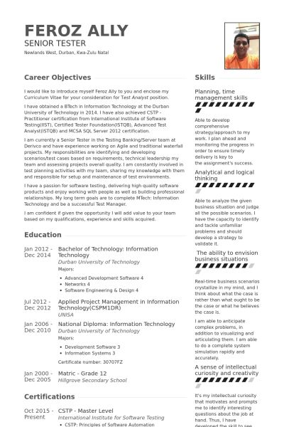 Tester Resume samples - VisualCV resume samples database