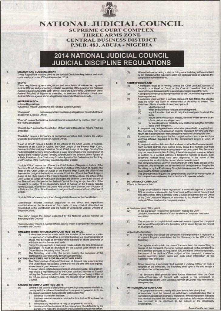National Judicial Council (NJC) – 2014 NJC Judicial Discipline ...