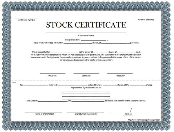 Stock Certificate, Template of Stock Certificate | Sample Templates