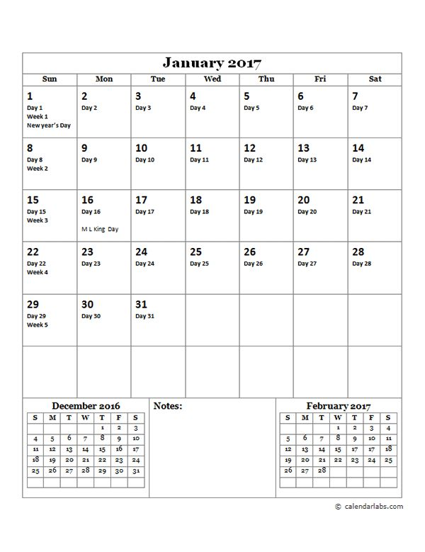 2017 Julian Day Calendar - Free Printable Templates