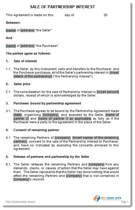 Sale of Partnership Interest Agreement Contract