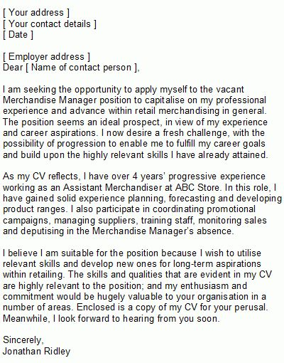 Retail Covering Letter Sample
