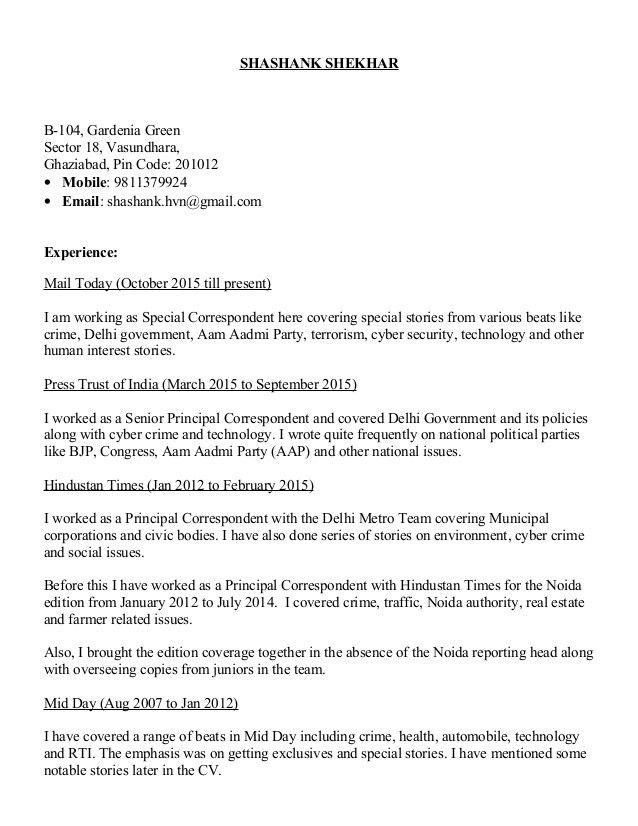 Shashank Shekhar resume