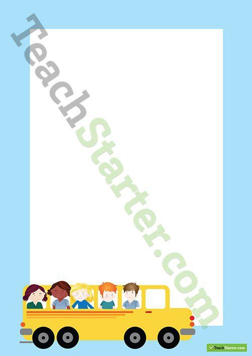 School Bus Transport Page Border - Word Template Teaching Resource ...