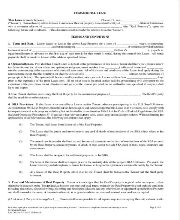 Sample Commercial Lease Agreement in PDF - 10+ Examples in Word, PDF