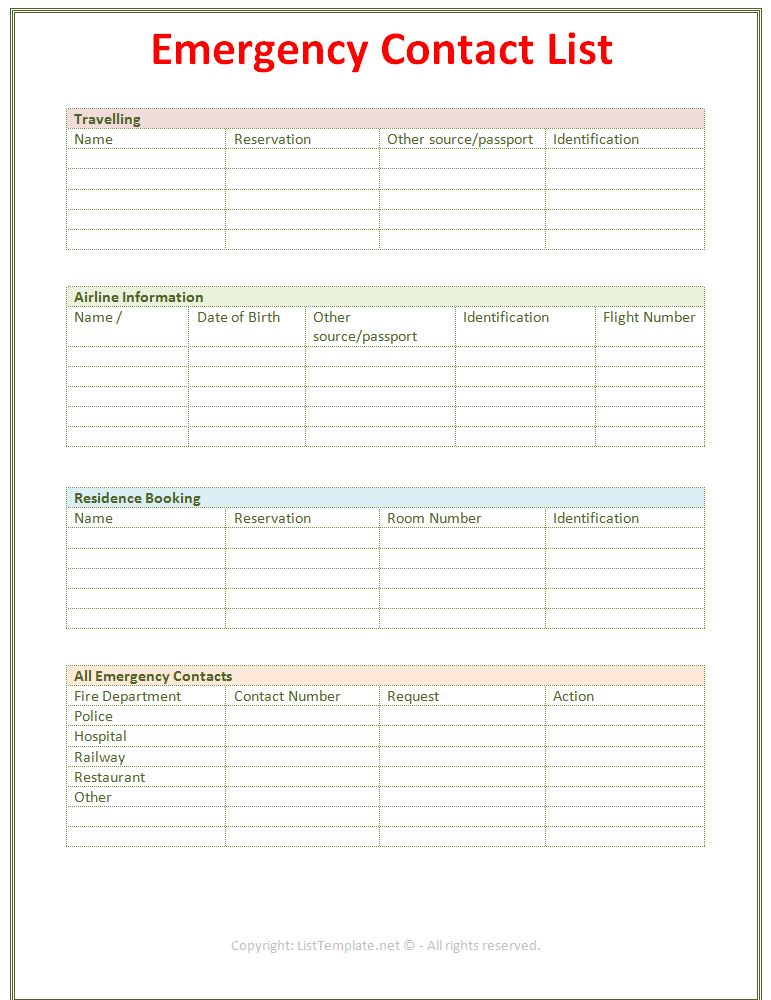 Emergency Contact List Template (Light Design)