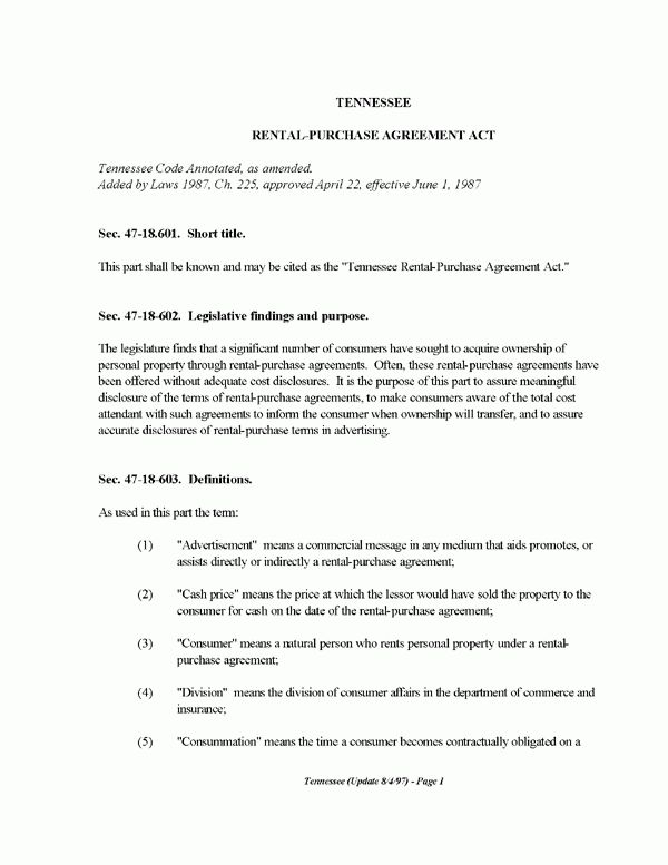 Tennessee Rental-Purchase Agreement Act | EZ Landlord Forms