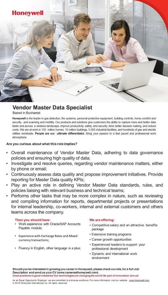 Vendor Master Data Specialist - Honeywell