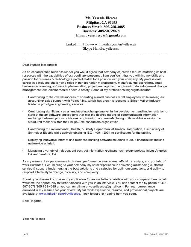 YIllescas Cover Letter Resume Combined 051815