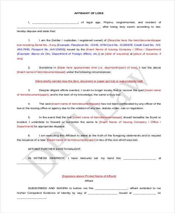 Affidavit Form Sample - 10+ Free Documents in PDF