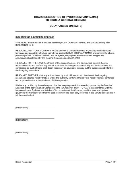 Board Resolution to Issue General Release - Template & Sample Form ...