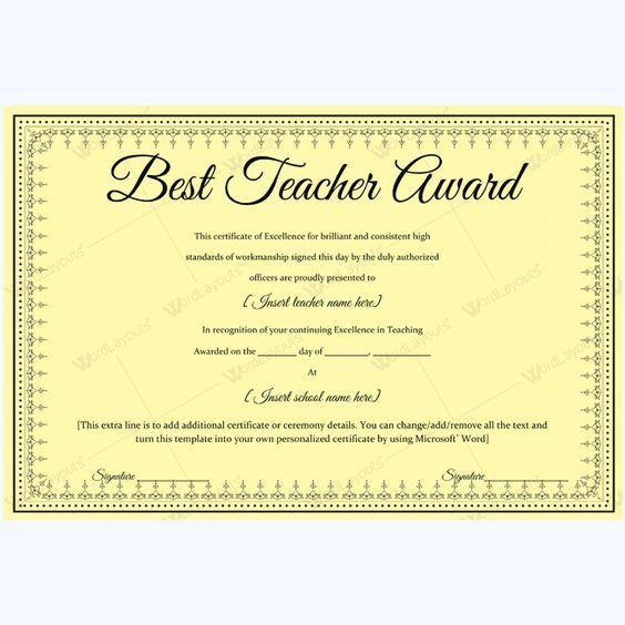 Formal Best Teacher Award Certificate Template #certificate ...