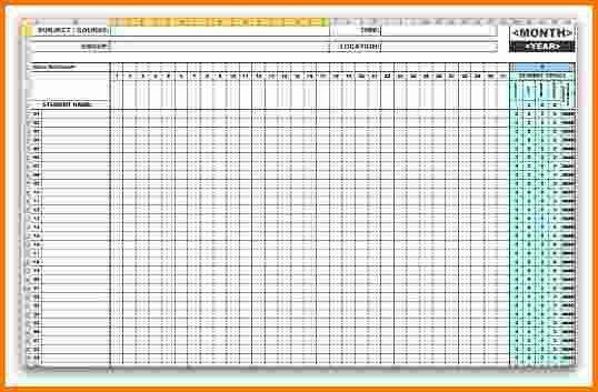 monthly attendance sheet template