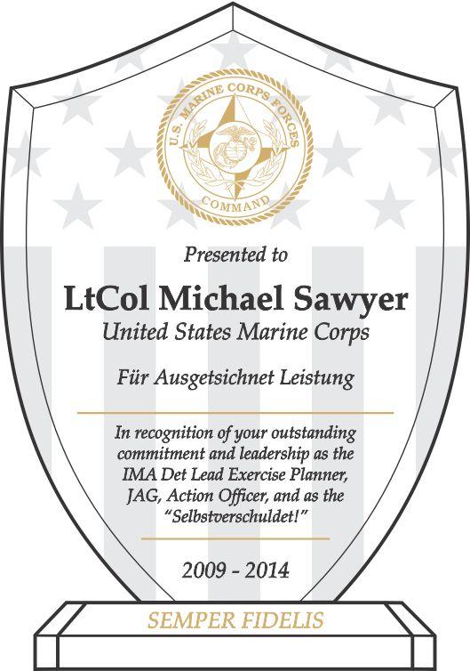 Marine Corps Leadership Recognition Award (#309-3) | Wording Ideas ...