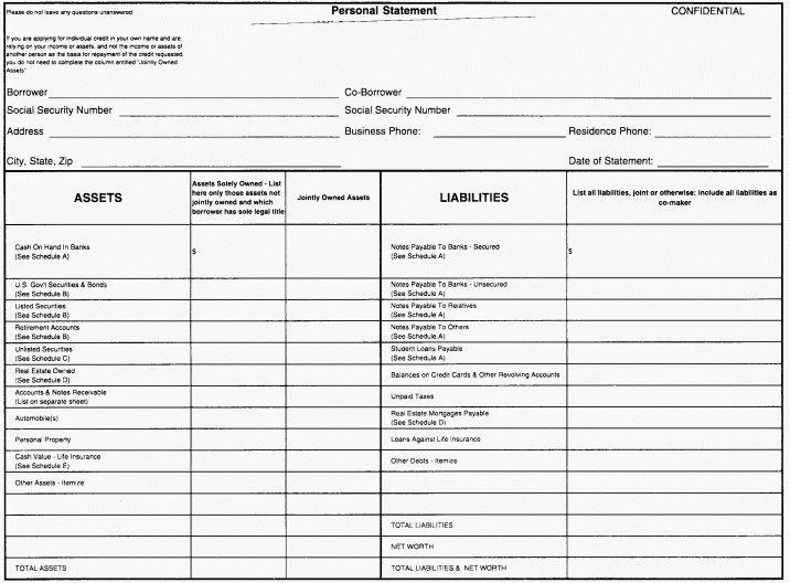 12 financial statement form | Financial Statement Form