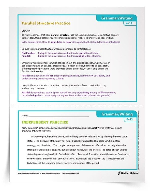 Activities for Parallel Structure Practice, Grades 6–8