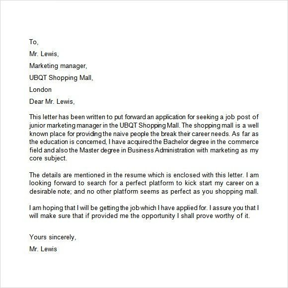 Application Letter - 9+ Free Samples , Examples , Format