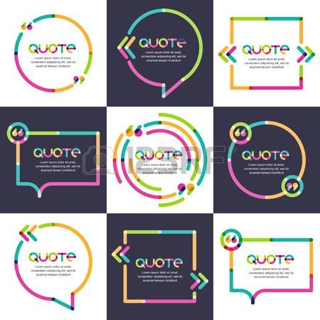 Vector Set Of Quote Forms Template. Multicolor Trendy Background ...