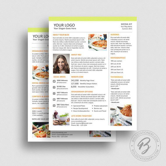 Blog Media Kit Template 02 Ad Rate Sheet Template Press