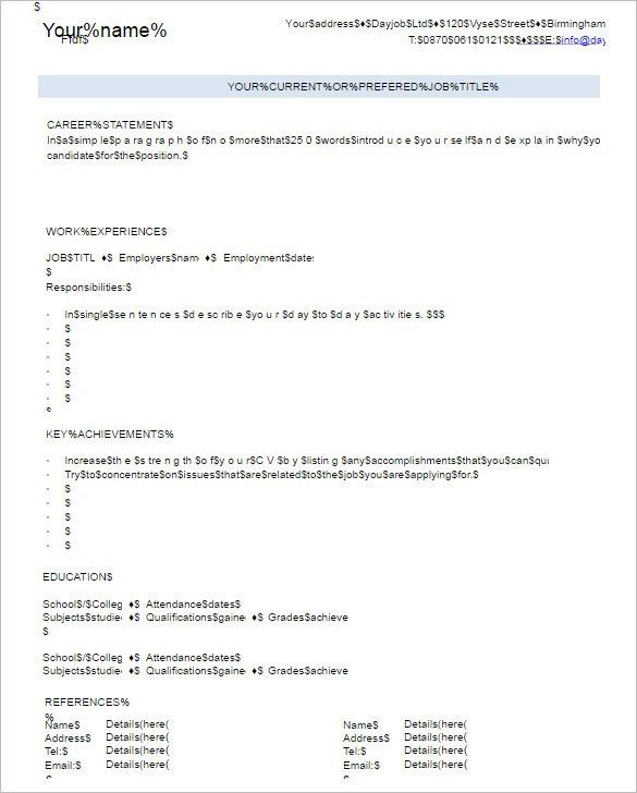 Blank Resume Templates - Free PSD, Word Format | Creative Template