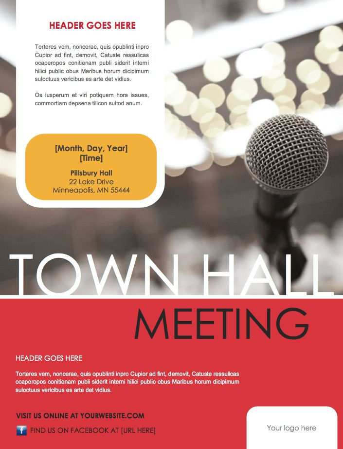 Town Hall Meeting Flyer Template (Microsoft Word File) – DIY ...