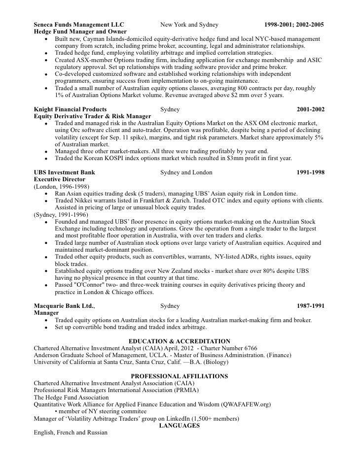 sample traders resume