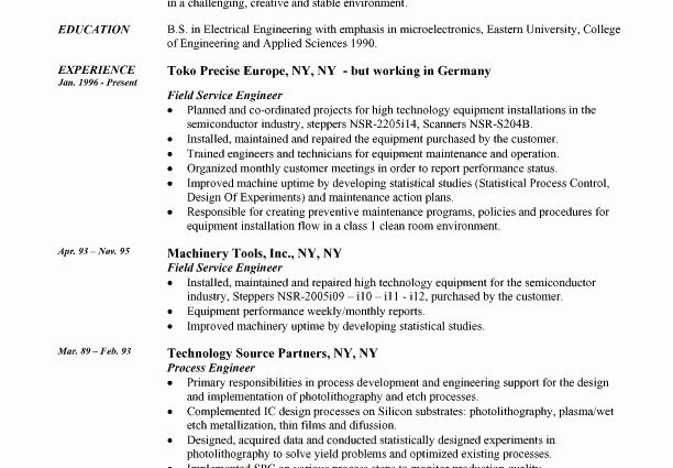 Free Resume Examples Engineer Resume resume example field engineer ...