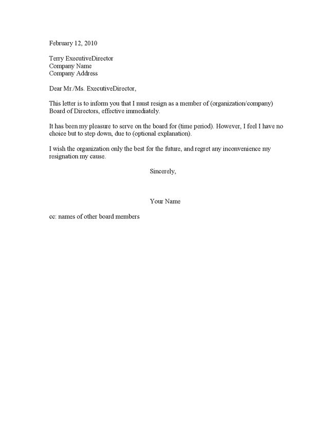 Resignation Letter Format: Simple Information Board Of Directors ...