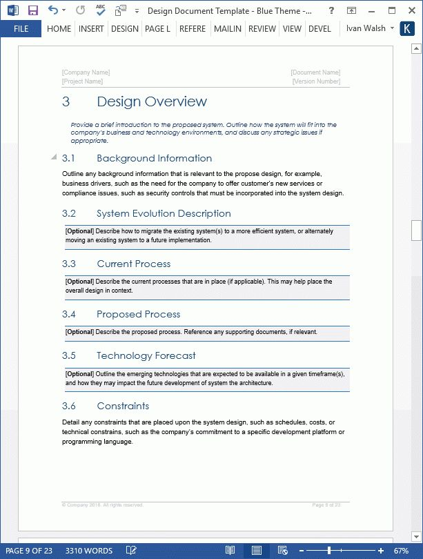 Design Document - Download MS Word Template