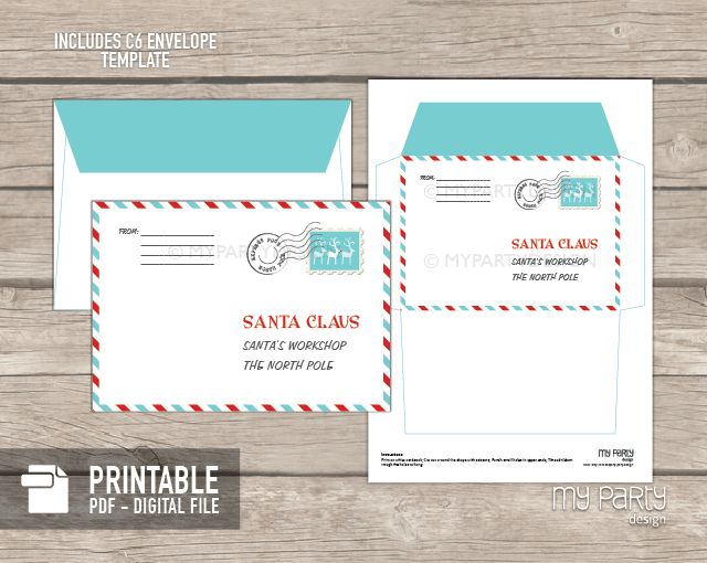 PRINTABLE Letter to Santa kit with Envelope Template - My Party Design