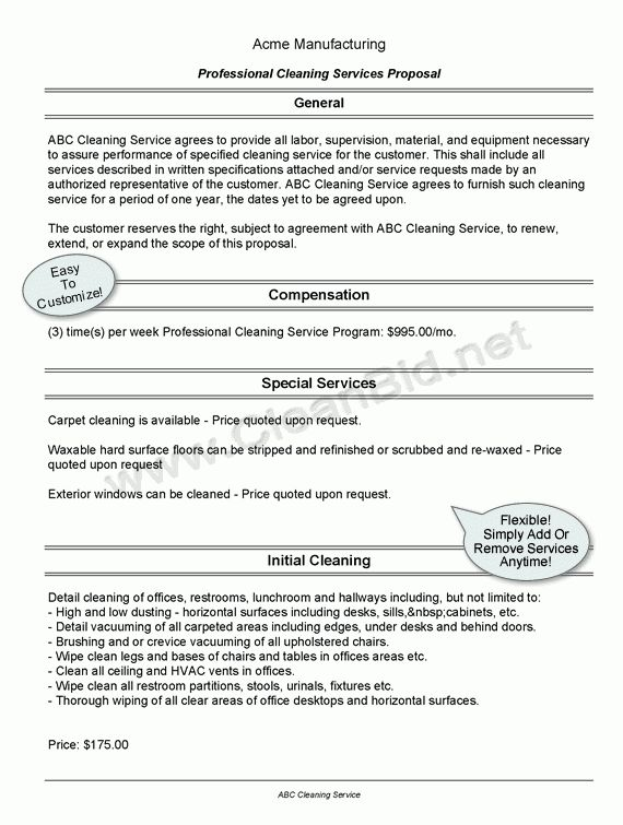 Janitorial Bidding Software   Cleaning Proposal   Cleaning Bid ...