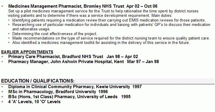 Pharmacist CV Sample