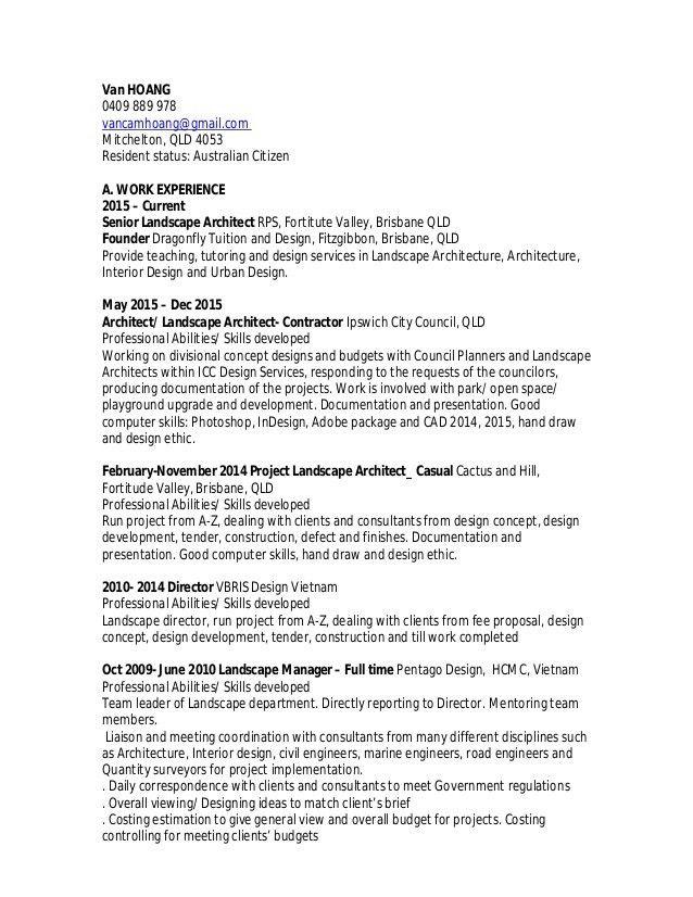 resume of van hoang sep 2016_rla - Landscape Architect Resume