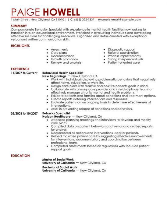 Sample of personal support worker resume