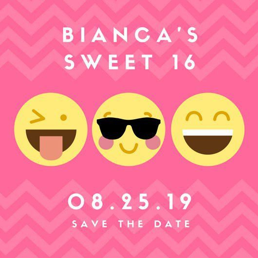 Pink Emoji Sweet 16 Birthday Invitation - Templates by Canva