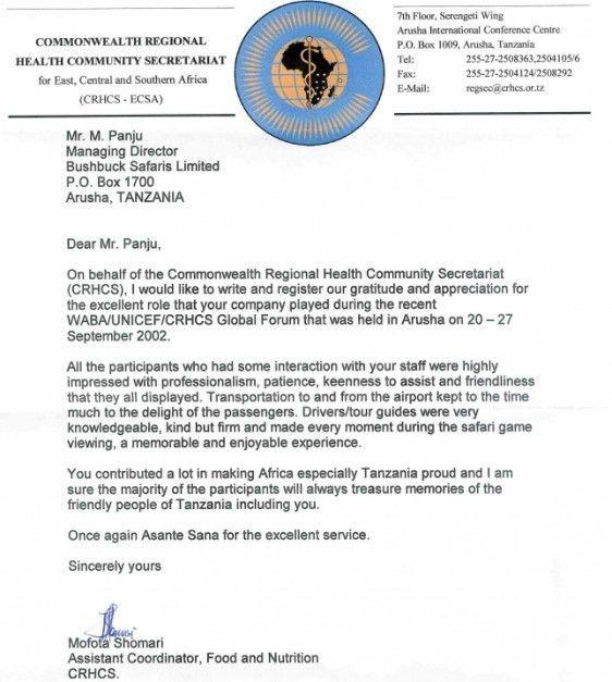 Letters of Recommendation for Bushbuck Safaris Ltd.
