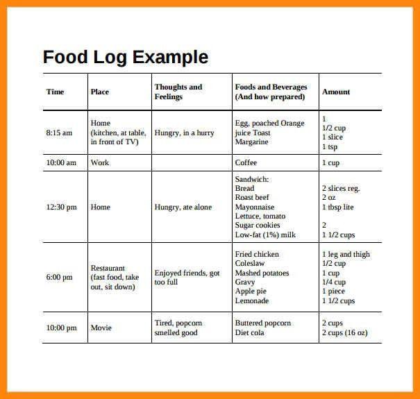 11+ sample food diary   reporter resume