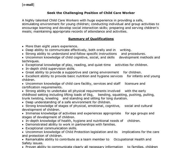 Childcare Worker Resume. child care resume sample 15 for childcare ...