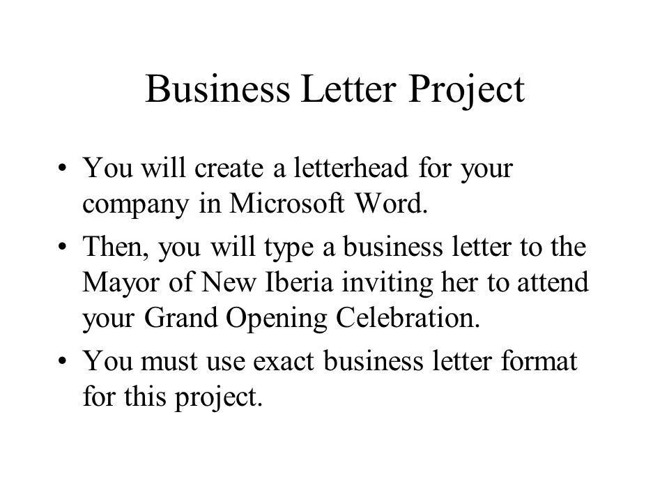 Business Letter Project - ppt video online download