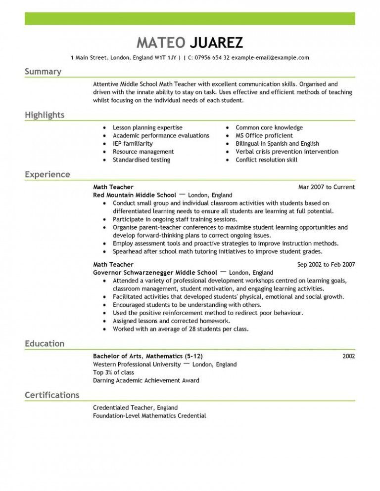 teacher-resume-1 - Resume Cv